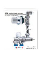 Διακόπτης Brass Form μονοσωληνίου set με θερμοστατική κεφαλή status Micro Form - By-Pass 690
